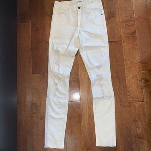 FRAME Denim Le High Skinny white distressed jeans